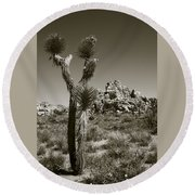 Joshua Tree National Park Landscape No 3 In Sepia Round Beach Towel