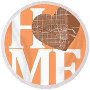 Miami Street Map Home Heart - Miami Florida Road Map In A Heart Round Beach Towel