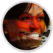 Michelle Obama Round Beach Towel by Marvin Blaine