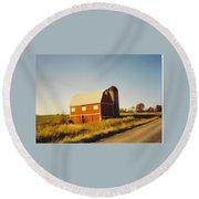 Michigan Barn Round Beach Towel