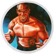 Mike Tyson Round Beach Towel by Paul Meijering