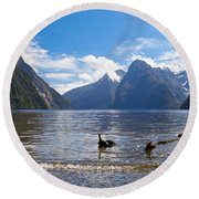 Milford Sound And Mitre Peak In Fjordland Np Nz Round Beach Towel