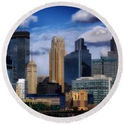 Minneapolis Skyline Round Beach Towel