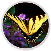 Monarch On Mountain Laurel Round Beach Towel