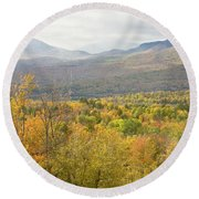 Mountains In Fall Mount Blue State Park Weld Maine Round Beach Towel
