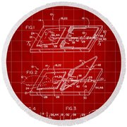 Mouse Trap Patent - Red Round Beach Towel