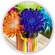 Multicolored Chrysanthemums  Round Beach Towel
