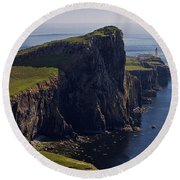 Neist Point Lighthouse Round Beach Towel
