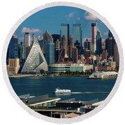 New York City Skyline As Seen Round Beach Towel