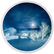 North Carolina Sugar Mountain Ski Resort Winter 2014 Round Beach Towel