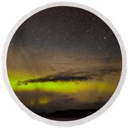 Northern Lights And Myriad Of Stars Round Beach Towel
