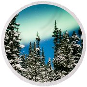 Northern Lights Aurora Borealis And Winter Forest Round Beach Towel