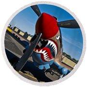 Nose Art On A Curtiss P-40e Warhawk Round Beach Towel