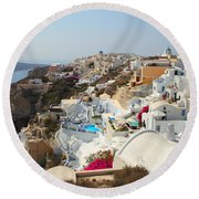 Oia Village Santorini Greece Round Beach Towel