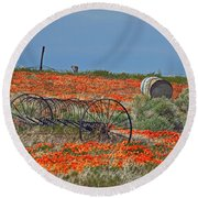 Old Farm Equipment Round Beach Towel