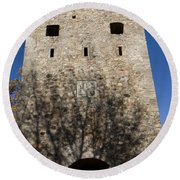 Old Sigulda Castle Ruins Round Beach Towel
