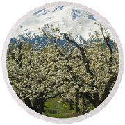 Orchard And Mount Hood, Oregon Round Beach Towel