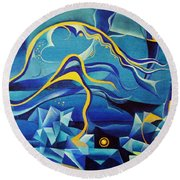 Orpheus And Eurydike Round Beach Towel