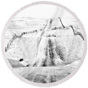 Over The Hill And Far Away Round Beach Towel