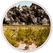 Over-under Split Shot Of Clear Water In Tidal Pool Round Beach Towel