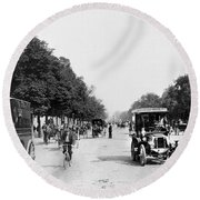 Paris Champs Elysees Round Beach Towel