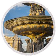 Paris Fountain Round Beach Towel