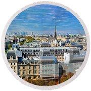Paris Panorama France Round Beach Towel