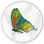 3 Perched Orange Spot Butterfly Round Beach Towel by Amy Kirkpatrick