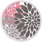 Pink Gray Peony Flowers Round Beach Towel