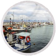 Port Of Aegina Round Beach Towel