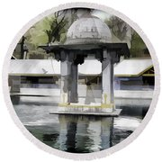 Premises Of The Hindu Temple At Mattan With A Water Pond Round Beach Towel