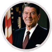 President Ronald Reagan Round Beach Towel