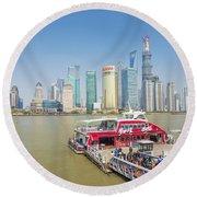 Pudong Skyline In Shanghai China Round Beach Towel