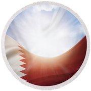 Qatar Flag Round Beach Towel