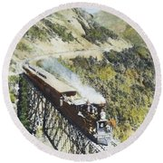 Railroad Bridge, C1870 Round Beach Towel