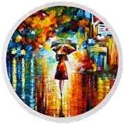 Rain Princess Round Beach Towel by Leonid Afremov