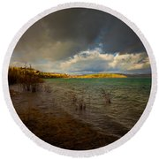 Rainbow And Dark Clouds Over Large Lake Round Beach Towel