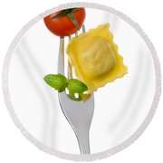 Ravioli Pasta Tomato And Basil On Fork Against White Background Round Beach Towel