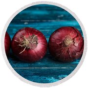 Red Onions Round Beach Towel by Nailia Schwarz