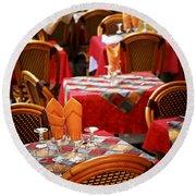 Restaurant Patio In France Round Beach Towel by Elena Elisseeva