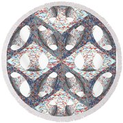 Retro Ornamental Subtraction Of Cube And Sphere Round Beach Towel
