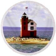 Round Island Lighthouse Straits Of Mackinac Michigan Round Beach Towel