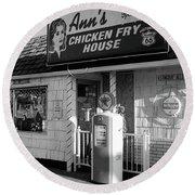 Route 66 - Ann's Chicken Fry House Round Beach Towel