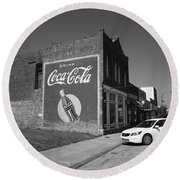 Route 66 - Coca Cola Ghost Mural Round Beach Towel