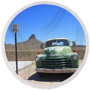 Route 66 - Old Green Chevy Round Beach Towel