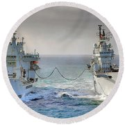 Royal Navy Aircraft Carrier Hms Ark Royal Conducts A Replenishment At Sea  Round Beach Towel