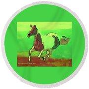 Running Horse Round Beach Towel