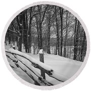 Rural Winter Scene With Fence Round Beach Towel