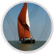 Sailing Barge Round Beach Towel by Gary Eason