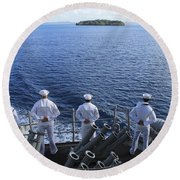 Sailors Man The Rails Aboard Round Beach Towel
